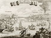 An old illustration of Strait of Messina, between Italian peninsula and Sicily. The original engravi