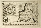 Old map of Capuchins province of Syracuse in Sicily. The map may be dated to the 17th c. and include