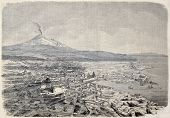 Antique illustration shows aerial view of Catania, the Sicilian city at the foot of Etna volcano, Italy. Original, by drawing of Guesdon, published on L'Illustration, Journal Universel, Paris, 1860