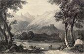 Antike Abbildung zeigt Landschaft im Aostatal, Italien. Original, erstellt von Oberst Cockburn ein