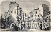 Antiga ilustração da celebração de festa de Corpus Christi em Evian-les-Bains, França. Original, de desenhar