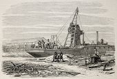Old illustration of a dredger in Port Said, working in Suez canal excavation. Original, from drawing