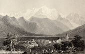 Antique illustration of Monte Bianco (White Mountain), Alps, Italy. Original, created by W. H. Bartlett and E. Benjamin, was published in Florence, Italy, 1842, Luigi Bardi ed.