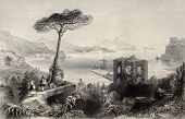 Antique illustration of  Naples bay, whit Vesuvius volcano on background, Italy. Original, created b