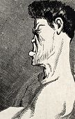 Antike humorvoll Illustration ein Boxer Gesicht Profil. Original von Benassis und darjou