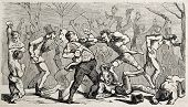 Antique humorous illustration of a brawl broking out during the boxing match. Original, from drawing