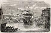 Ship launching: screw vessel La Guerriere, in Brest harbour, France. From drawing of Lebreton after photo of Mangel Dumensil, published on L'Illustration, Journal Universel, Paris, 1860