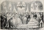 French emperor and empress meeting Russian empress dowager in Lyon, France. From drawing of Janet-Lange, after sketch of Moullin, published on L'Illustration, Journal Universel, Paris, 1860