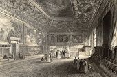 Antique illustration of Sala dei Pregadi, in Doge's Palace, Venice, Italy. Original created by J. Fr