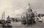Antique illustration of  Santa Maria della Salute basilica, Venice, Italy. Original, created by W. L