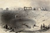 Antique illustration of Verona arena, Italy. Original, created by W. H. Bartlett and J. Sands, was published in Florence, Italy, 1842, Luigi Bardi ed.