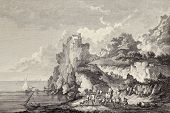 Coast of Sicily under castle at Cape Scaletta. Created by Chatelet and Bretin, published on Voyage P
