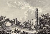 Temple of Castor and Pollux ruins, Agrigento, Sicily. By Chatelet and De Longueil, published on Voya