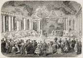 Antique illustration of masquerade ball in the Hotel d'Albe, Paris. Original, after drawing of J. Ga