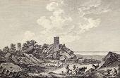 View of Jupiter's temple ruins, Selinunte, Sicily. Created by Desprez and De Longueuil, publ. on Voyage Pittoresque de Naples et de Sicilie, by J. C. R. de Saint Non, Impr. de Clousier, Paris, 1786