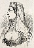 Antique illustration of Persian woman from Tabriz. Original, engraved on drawing of E. Duhousset, was published on L'Illustration, Journal Universel, Paris, 1860