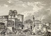 View of Palma di Montechiaro, Sicily. Created by Bertheaux e Lenard, published on Voyage Pittoresque