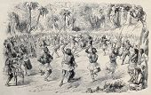 Antique illustration of ritual dance of native central American. Original, from drawing of Godefroy