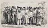 Old illustration of Chinese immigrants in Guadalupe. Original, from drawing of Worms, after photo of