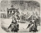Antique illustration of funerary procession of Duchess Stephanie of Baden departing from Karlsruhe castle. Original, from drawing of Durand, published on L'Illustration Journal Universel, Paris, 1860