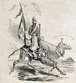Old illustration of persian camel artillery man. Original, from drawing of Duhousset, was published on L'Illustration Journal Universel, Paris, 1860