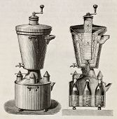Old illustration of household cooling apparatus. Original, from unknown author, was published on L'E