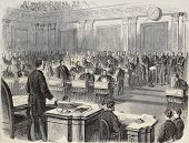 Old illustration of reading impeachment act of President Johnson in the United States Senate. Origin