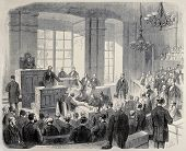 Antique illustration of House of Lords of Austrian Parliament. Original was created by Pauquet and Cosson-Smeeton after sketch of Petrovits. Published on L'Illustration, Journal Universel, Paris, 1868