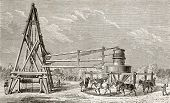 Antique illustration of drilling artesian well at Grenelle, Paris. Original, created by Lapiante and