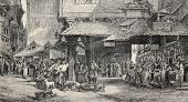 Old illustration of butcher's shop in Frankfurt. Engraved by Joliet after tablet of Noel. Published