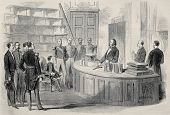 picture of bonaparte  - Old illustration of  Prince Imperial Eugene Louis Napoleon Bonaparte visiting chemistry lab in Polytechnique - JPG