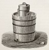 Old illustration of an antique ice cream maker. Original,  by Javandier and Laplante, was published on L'Eau, by G. Tissandier, Hachette, Paris, 1873