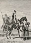 Antique illustration shows arab women offering milk to horsemen. By Duvaux and Cosson-Smeeton on tab