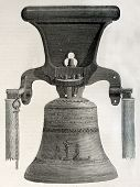 stock photo of idiophone  - Antique illustration of a bell casted in Perre workshop - JPG