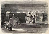 Admiral d'Hornoy showing cannon breech of La Savoie frigate to Prince Imperial Louis  Eugene Napoleon Bonaparte. Created by Pauquet., published on L'Illustration, Journal Universel, Paris, 1868