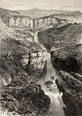 Old illustration of Tacazze falls,  Abyssinia. Created by Loudon, published on L'Illustration, Journ