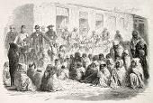 Food distribution by French settlers to Arab population in Setif, Algeria. Created by Janet-Lange and Dutheil after photo of Mercier, published on L'Illustration, Journal Universel, Paris, 1868