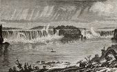 Old illustration of Niagara Falls, between U.S.A. And Canada. Created by Sargent, published on L'Eau, by G. Tissandier, Hachette, Paris, 1873