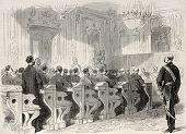 Old illustration of a session of Hungarian delegation in Vienna. Created by Pauquet and Dutheil, pub
