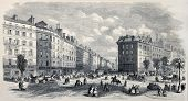 Antique illustration of Rue de la Paix, in Paris, before Rue de l'Imperatrice opening. Created by Provost, published on L'Illustration, Journal Universel, Paris, 1868