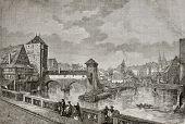 Antique illustration of Max bridge in Nuremberg, between city jail and Saint Lorenz spires. Created by Catenacci, published on Le Tour du Monde, Paris, 1864