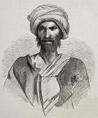 Antique illustration of a Bedouin from Sinai peninsula. Created by Pottin and Bida, published on Le