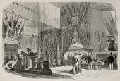 Old illustration of entrance hall of Le Havre international maritime exposition, France, 1868. Created by Blanchard and Cosson-Smeeton, published on L'Illustration, Journal Universel, Paris, 1868