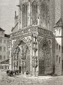 Old illustration of Church of Our Lady (Frauenkirche) main entrance in Nuremberg, Germany. Created by Th?rond and Terington, published on Le Tour du Monde, Paris, 1864