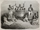 Old illustration of Karague court orchestra, lake Victoria region. Created by Bayard, and Hildebrand, published on Le Tour du Monde, Paris, 1864