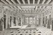 Old illustration of House of Pansa interior, Pompeii, Italy. Created by Lancelot  published on Le To