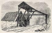 Old illustration of  Buttes Chaumont  kilns top, 19th arrondissement, Paris. Created by Gaildrau, published on L'Illustration, Journal Universel, Paris, 1868