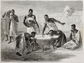 Old illustration of native Ugandan Africans drinking millet beer from a big common recipient. Create