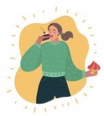 Vector Cartoon Illustration Of Sweet Tooth Lady Eating Cake. Lady Greedily Devouring Sweets And Back poster