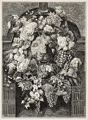 Antique illustration of a Mascaron framed by flowers: architectural decorative element. Created by B